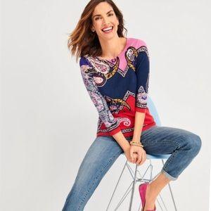 Talbots Paisley Crewneck Pullover Sweater 2X NWT